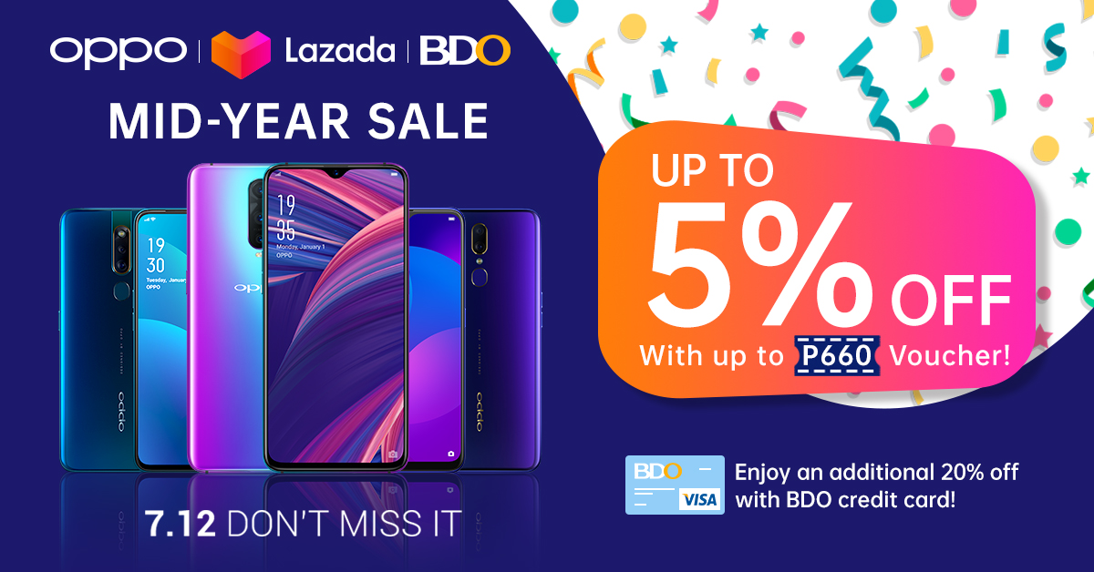 JUST IN: Rack up to 27.5% off on your preferred OPPO Smartphone with Lazada, BDO on Lazada Mid-Year Sale 2019