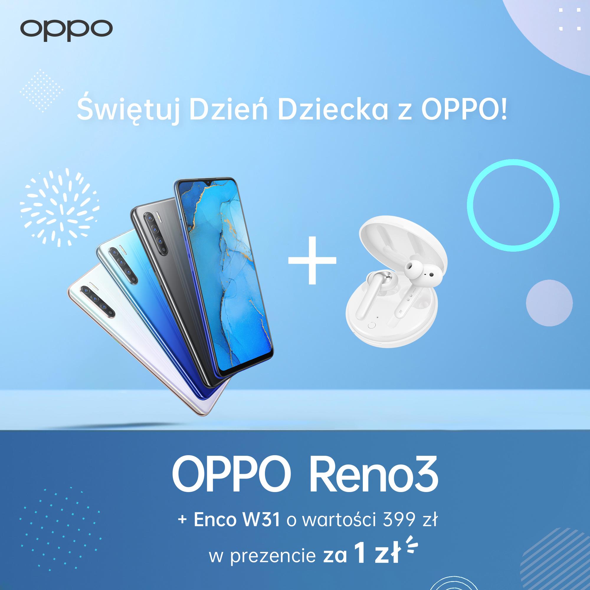 Bezprzewodowe słuchawki TWS OPPO Enco W31 debiutują w super zestawie ze smartfonem OPPO Reno3.
